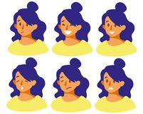 Set with different emotions on the girl s face joy, sadness, smile, anger, fear, irritation, laughter. stock illustration