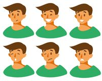 Set with different emotions on the guy s face joy, sadness, smile, anger, fear, irritation, laughter. vector illustration