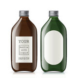Set of different empty glass bottles Royalty Free Stock Images