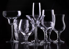Set with different empty glasses Royalty Free Stock Photos