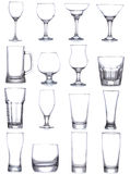 Set with different empty glasses and mugs royalty free stock image