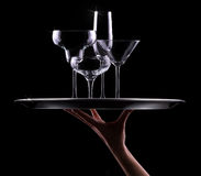 Set with different empty stemware Royalty Free Stock Image