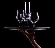 Set with different empty stemware Stock Photos