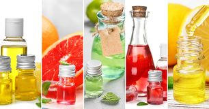 Set with different essential oils. Closeup view stock photos