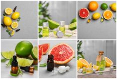 Set with different essential oils. On table stock photos