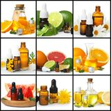 Set with different essential oils. On white background stock photo