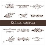 Set of different ethnic doodle patterns Stock Photos