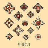 Set of different ethnic signs. And design elements. Bright colored geometric patterns on beige background. Vector illustration. Could be used for tattoo, logo Stock Image