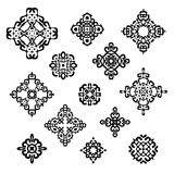 Set of different ethnic signs. And design elements. Geometric patterns on white background. Vector illustration. Could be used for tattoo, logo and icon design Royalty Free Stock Photo