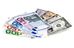 Set of different euro and dollar notes isolated Stock Image