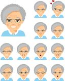 Set of different european avatar old women in colorful flat style. vector illustration