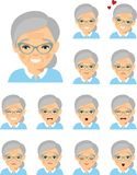 Set of different european avatar old women in colorful flat style. royalty free illustration