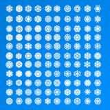 Set of 100 and 10 different exclusive various white snowflakes. On a blue background for gift card, greeting cards, designing Christmas card composition, wall stock illustration