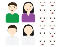 Set of different expressions. Man and woman icon with Set of different expressions Stock Photography