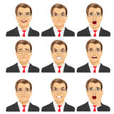 Set of different expressions of the same middle aged businessman with glasses Royalty Free Stock Image