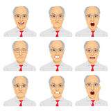 Set of different expressions of the same senior businessman with glasses Royalty Free Stock Image
