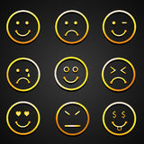 Set of different expressions. Set of smiley showing different facial expressions on black background Royalty Free Stock Photos