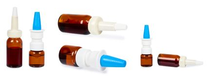 Set of different eye or ear drops glass bottle isolated on white background.  stock photography