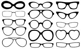 Set of different eyeglasses. Isolated on white vector illustration
