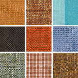 Set of different fabric texture Royalty Free Stock Images