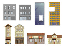 Set of different facades Stock Photos