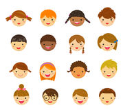 Set of different faces of boys and girls on a white background Stock Photos