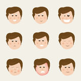 Set of different facial expressions. Set of different facial expressions with faces of cute boy cartoon Stock Image