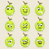 Set of different facial expressions with guava. Set of different expressions with funny guava faces on beige background Royalty Free Stock Photography