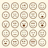 Set of different facial expressions. Set of smiley showing different facial expressions on beige background Stock Images