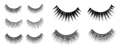 Set with different false eyelashes on white background. Top view royalty free illustration