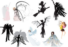 Set of different fantasy girls isolated on white Stock Photo