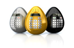 Set of different  fantasy Push-button golden smartphones or mobile phones like Easter egg. hnologies 3d illustration Royalty Free Stock Photography