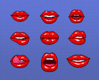 Set of different female red lips. Fashion patches elements, badges collection. Comics mouth with smile, tongue, teeth. Kiss on purple background. Vector Stock Photos