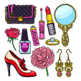 Set of different female things Royalty Free Stock Images