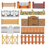 Set of different fence design Stock Photo