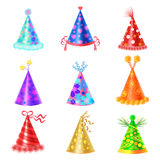 Set of Different Festive Caps in Cartoon Style. On white background. Triangular hood various colors with buboes and stars vector illustration flat design Royalty Free Stock Images