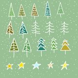 Set of 15 different fir, christmas trees hand drawn style on snowy background Royalty Free Stock Photo