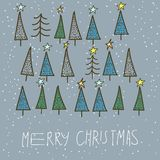 Set of 15 different fir, christmas trees hand drawn style on snowy background Stock Images