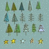 Set of 15 different fir, christmas trees hand drawn style on snowy background Royalty Free Stock Image
