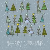 Set of 15 different fir, christmas trees hand drawn style on snowy background Stock Photo