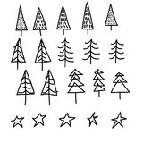 Set of 15 different fir, christmas trees hand drawn style on snowy background Royalty Free Stock Photos