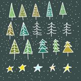 Set of 15 different fir, christmas trees hand drawn style on snowy background Stock Photos