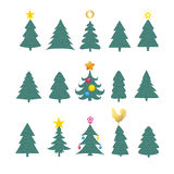 Set of different fir trees on white background. Christmas collection Royalty Free Stock Image