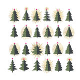 Set of different fir trees on white background. Christmas collection Royalty Free Stock Photo