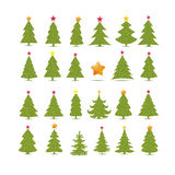 Set of different fir trees on white background. Christmas collection Royalty Free Stock Photography