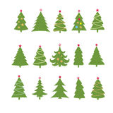 Set of different fir trees on white background. Christmas collection Stock Image