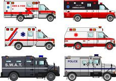 Set of different fire truck, police and ambulance cars in flat style  on white background. Differences. Silhouette illustration of fire truck, police and Stock Photo