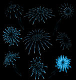 Set different fireworks on dark background Royalty Free Stock Photos