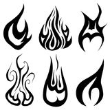 Set of different flames. Isolated on white Royalty Free Stock Photography