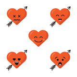 Set of different flat cute emoji heart faces with arrow isolated on the white background. Happy emoticons faces royalty free illustration